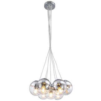 Szklana lampa wisząca Layla - 7 kloszy, chrom