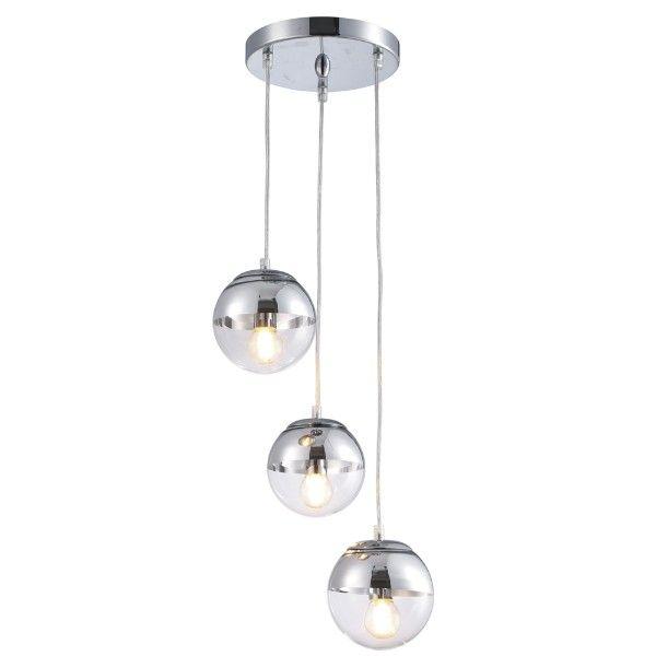 srebrna lampa wisząca, szklane kule, aranżacja