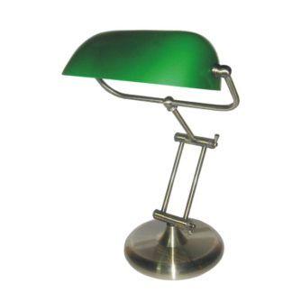 Elegancka lampa biurkowa Bank - srebrna podstawa, zielony klosz