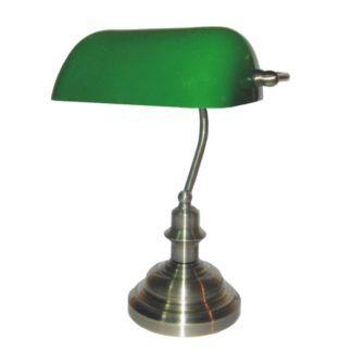 Klasyczna lampa stołowa Bank - srebrna podstawa, szklany klosz