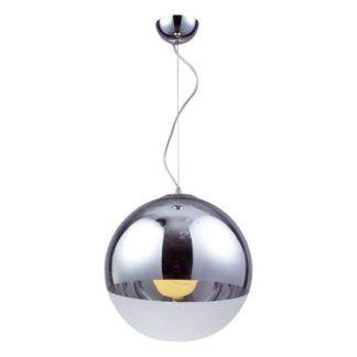 Szklana lampa wisząca Evia - nowoczesna, chrom