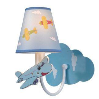 Nieduży kinkiet Samolocik - błękitny klosz, pokój dziecięcy