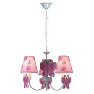Dziecięcy żyrandol Motylek - 3 różowe klosze