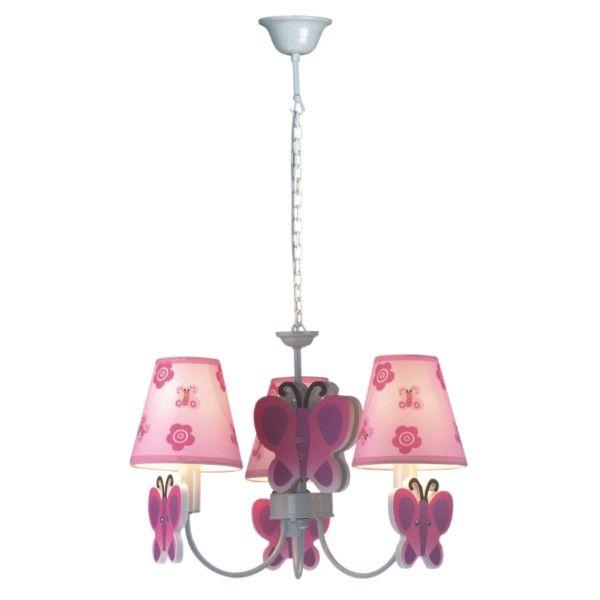 różowy żyrandol do pokoju dziewczynki motylki