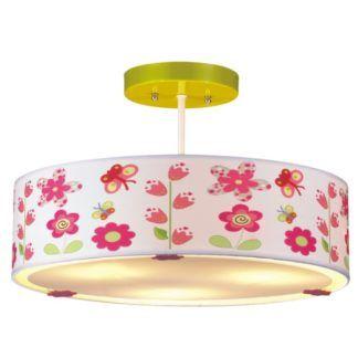 Kolorowa lampa sufitowa Bajka - klosz w kwiatki