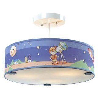 Dziecięca lampa sufitowa Bajka - niebieski klosz, mleczny dyfuzor
