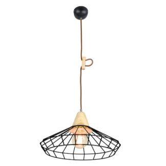 Czarna lampa wisząca Oslo - druciany klosz, drewniane detale