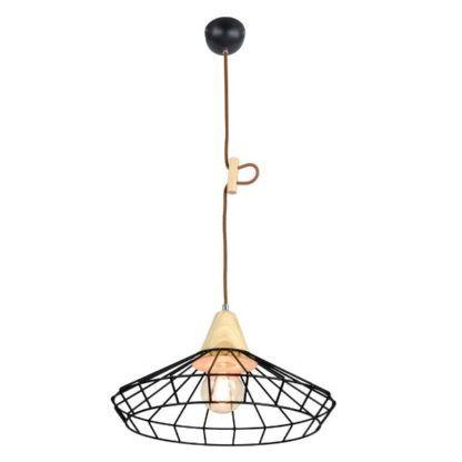 lampa wisząca metal drewno industrialna, rustykalna