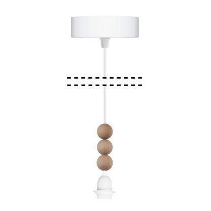 zawieszenie do lampy z drewnianymi kuleczkami
