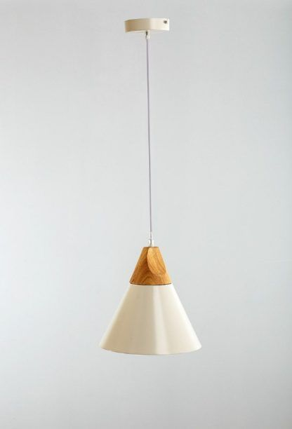biała lampa wisząca w stylu skandynawskim