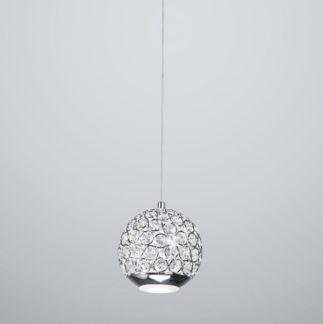 Elegancka lampa wisząca Andrea - połyskujący klosz, srebrna