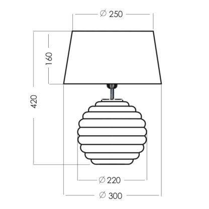 Biała lampa stołowa Antibes - szklana, biały abażur