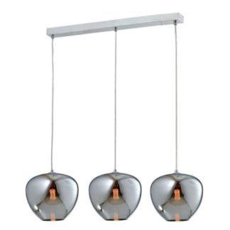 potrójna, srebrna lampa wisząca ze szkła