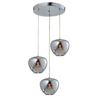 Okrągła lampa wisząca Aura - 3 srebrne klosze, szklana