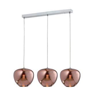 Potrójna lampa wisząca Aura - złote klosze ze szkła
