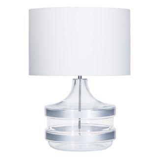 Designerska lampa stołowa Beden Baden - szklana, biały abażur