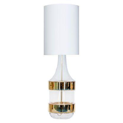 wysoka lampa stołowa ze szkła, złote lampasy