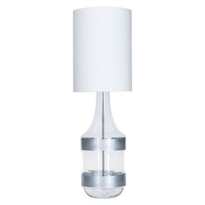 lampa stołowa szklana z białym abażurem