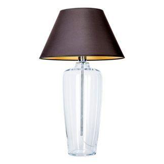Wysoka lampa stołowa Bilbao - szklana, czarny abażur