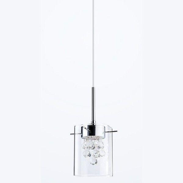 nowoczesna lampa wisząca szklana srebrna