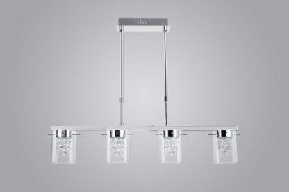 podłużna lampa wisząca ze szklanymi kloszami, nowoczesne glamour