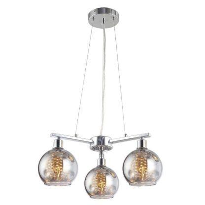 potrójna lampa wisząca ze szklanymi kloszami srebrna