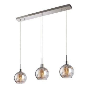 Szklana lampa wisząca Caliope - 3 klosze z kryształkami