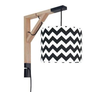 Drewniany kinkiet Simple - biało-czarny abażur