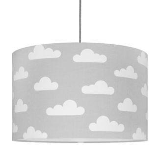 Szara lampa wisząca Chmurki - bawełniana, do pokoju dziecięcego