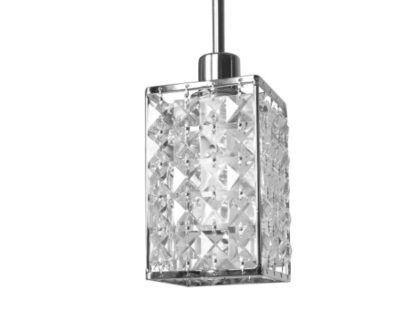 srebrna lampa wisząca z kryształowym kloszem