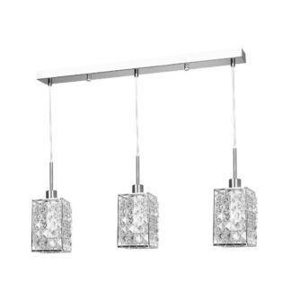 Potrójna lampa wisząca Claris - połyskujące klosze, srebrna