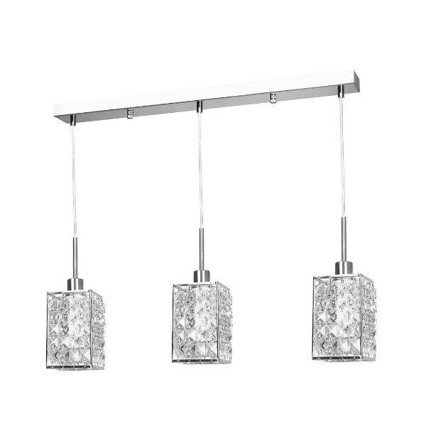 elegancka, srebrna lampa wisząca glamour, nad stół