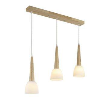 Skandynawska lampa wisząca Coppo - 3 klosze, drewniane detale