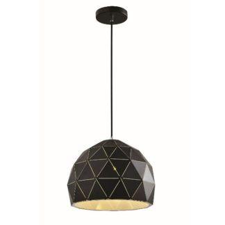 Geometryczna lampa wisząca Costa - czarny klosz, nowoczesny desing