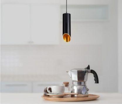 czarna tuba do kuchni - lampa wisząca złota