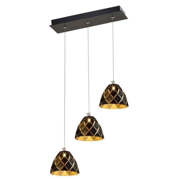 potrójna lampa wisząca z czarno-złotymi kloszami