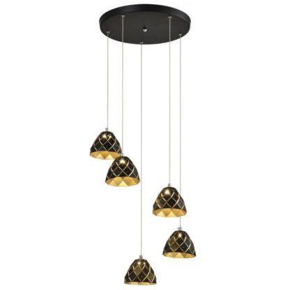 lampa wisząca z malutkimi kloszami czarno-złota okrągła