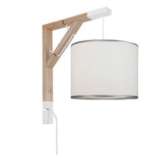 Drewniany kinkiet Simple - biały abażur ze srebrną lamówką