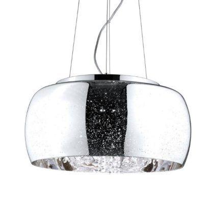 lampa wisząca glamour szkło kryształki srebrna