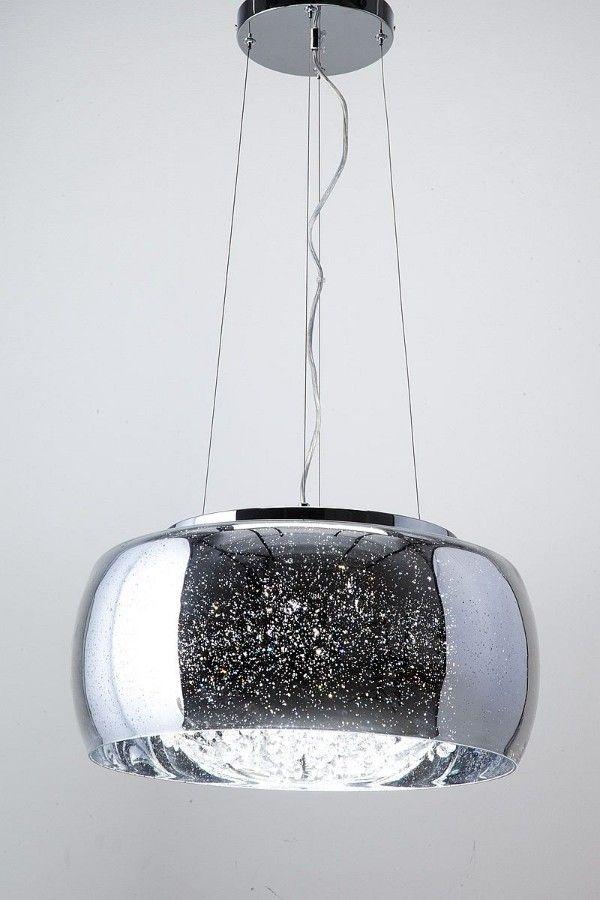 Efektowna lampa wisząca Elysium – szklany klosz, kryształki,srebrna