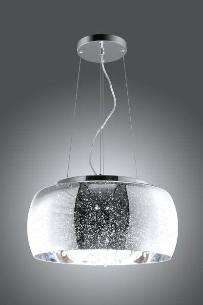 owalna lampa wisząca srebrna glamour