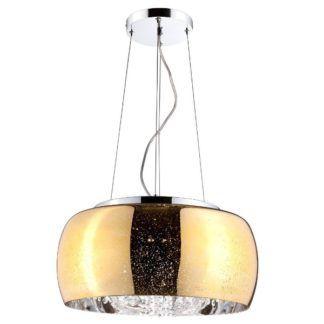 Szklana lampa wisząca Elysium - złoty klosz z kryształkami w środku