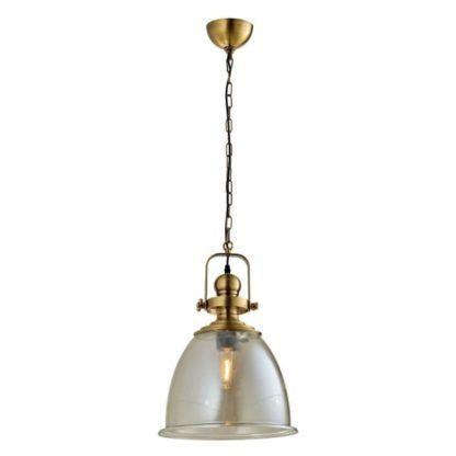 lampa wisząca szklany klosz, złote detale