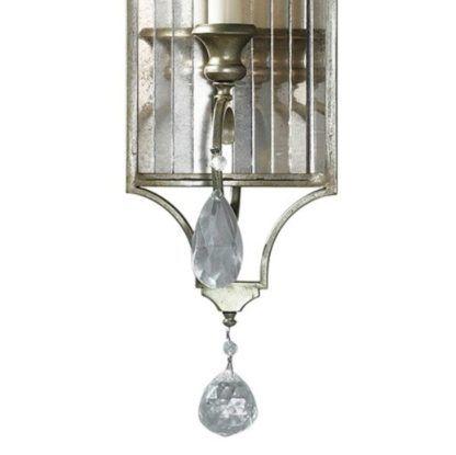 elegancki kinkiet z lustrzanymi płytkami i kryształkami