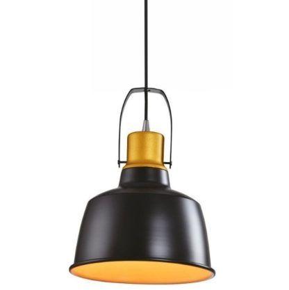 czarna lampa wisząca ze złotym środkiem