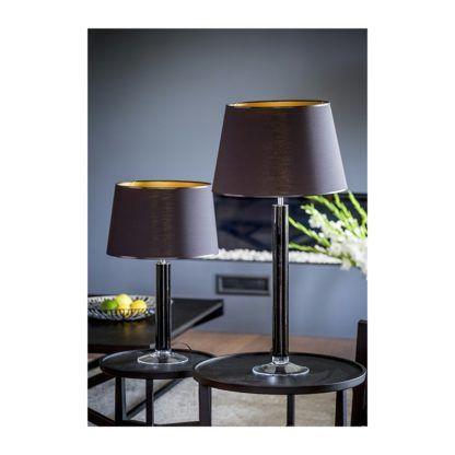 czarna lampa stołowa z abażurem