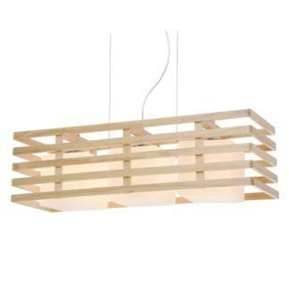 Nowoczesna lampa wisząca Franklin - białe klosze w drewnianej obudowie