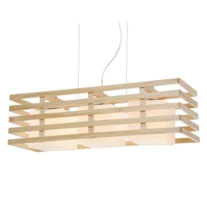 lampa wisząca z drewnianymi listewkami skandynawska