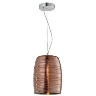 Oryginalna lampa wisząca Gobi - szklany klosz, miedź