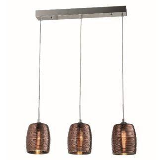 Potrójna lampa wisząca Gobi - szklane klosze, miedź